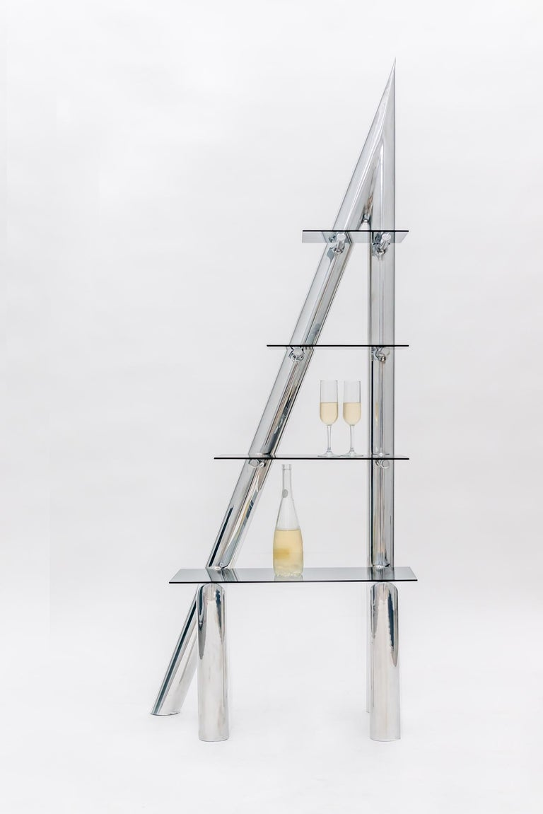 Modern Polished Aluminum and Glass Sculptural Contemporary Shelving Unit by Deon Rubi For Sale