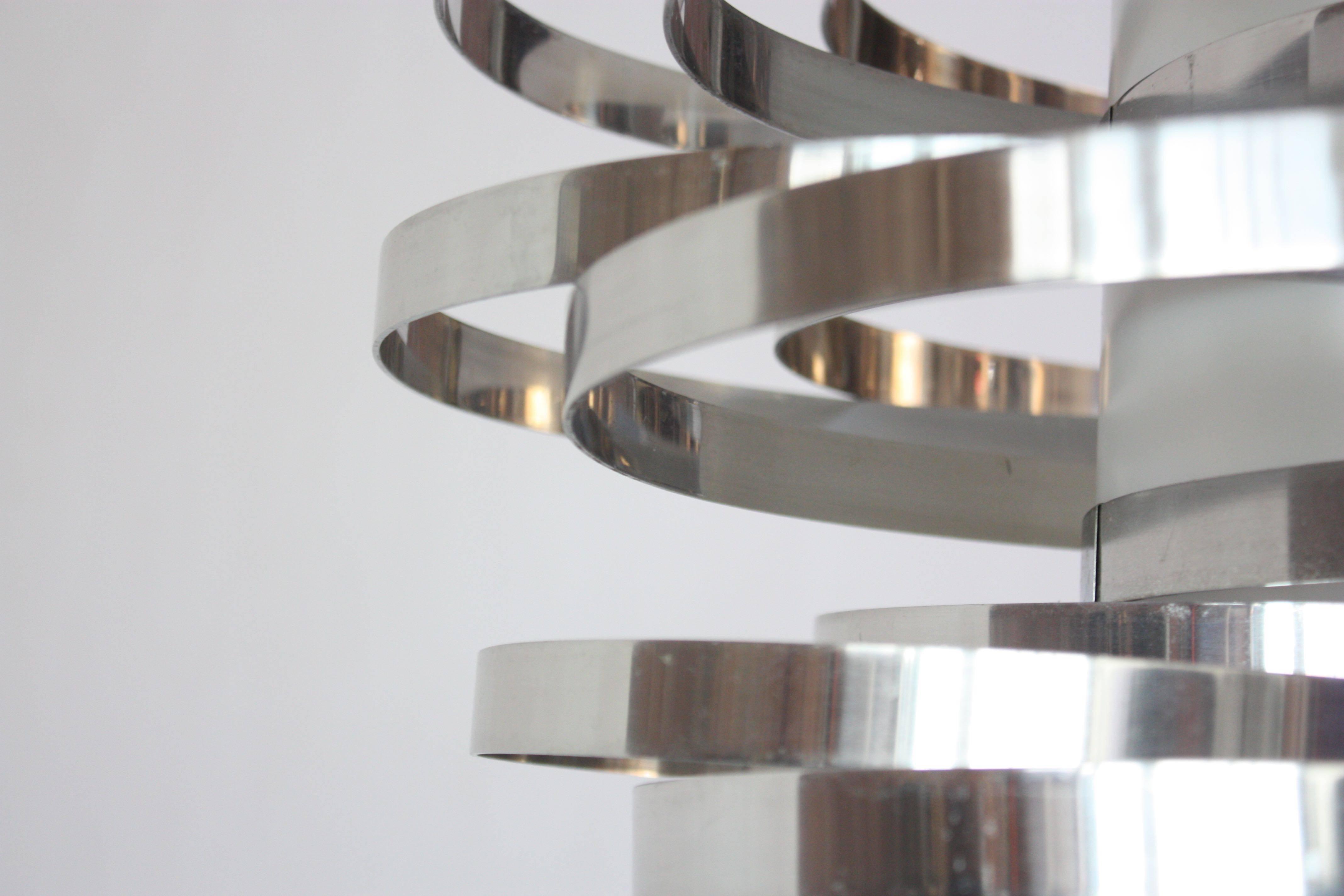 Polished Aluminum Cyclone Pendant Fixture By Gaetano Sciolari For Sale At 1stdibs