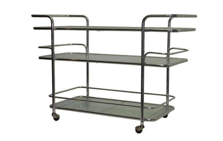 Mid-Century Modern Polished Aluminum Food Service or Bar Cart, American, circa 1950 For Sale