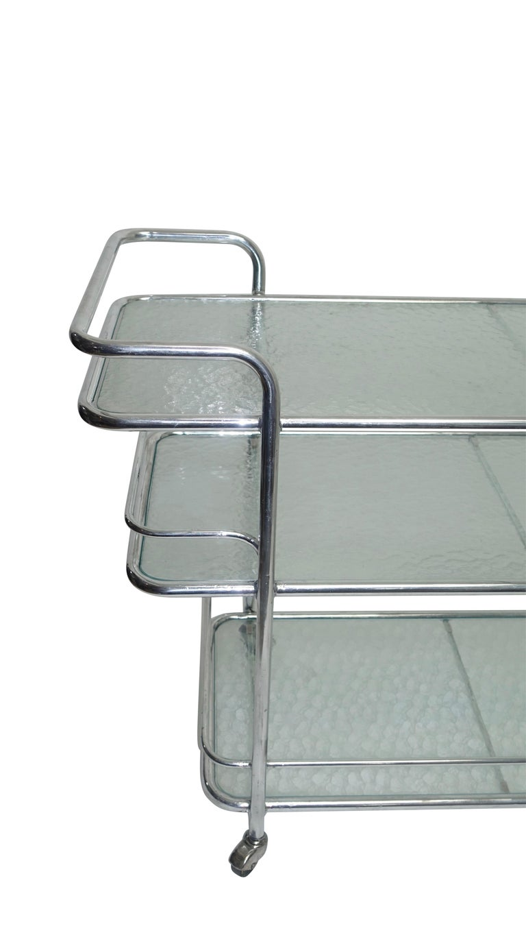 Polished Aluminum Food Service or Bar Cart, American, circa 1950 In Good Condition For Sale In San Francisco, CA