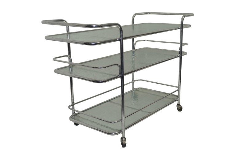 20th Century Polished Aluminum Food Service or Bar Cart, American, circa 1950 For Sale