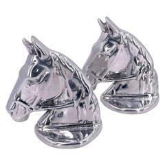 Polished Aluminum Rare Horse Sculptures by Hoselton Signed