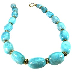 Gemjunky Polished Amazonite Nugget Necklace with Bali Bead Accents