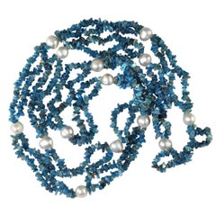 Gemjunky Polished Apatite Chips Double Strand Necklace with Pearl Enhancements