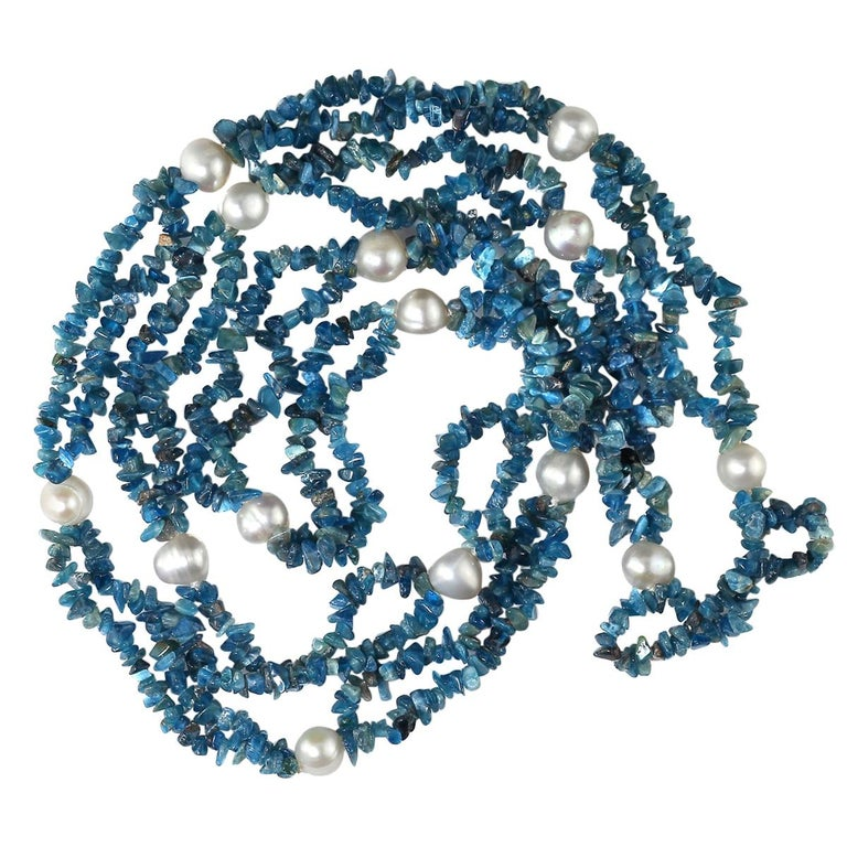 Gemjunky Polished Apatite Chips Double Strand Necklace with Pearl Enhancements For Sale