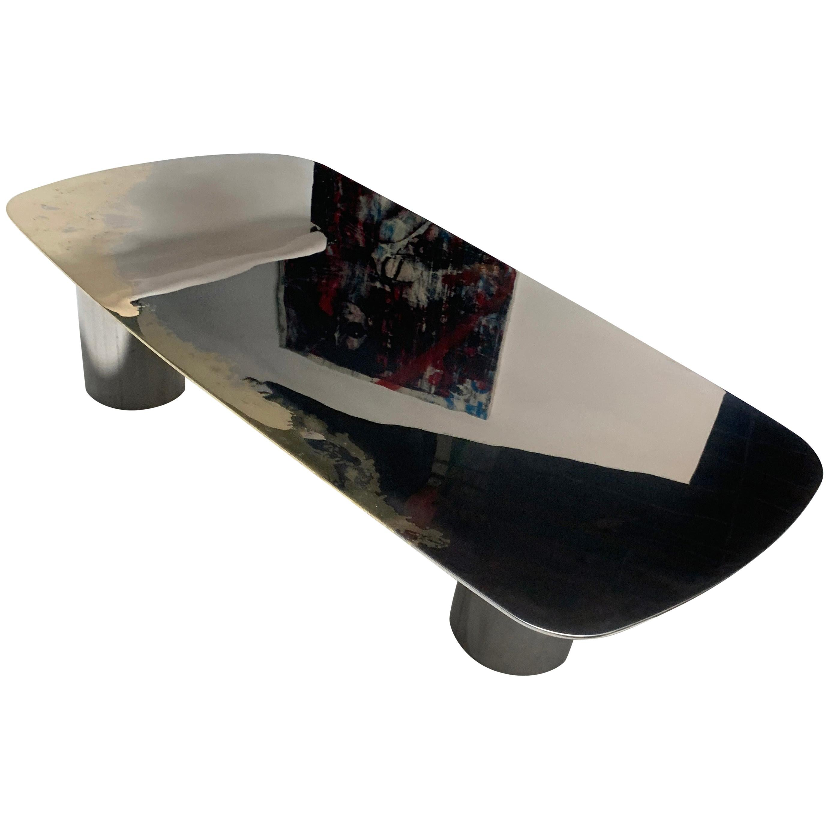 Polished Bimetal Two-Tone Brass and Stainless-Steel Hand-Crafted Coffee Table
