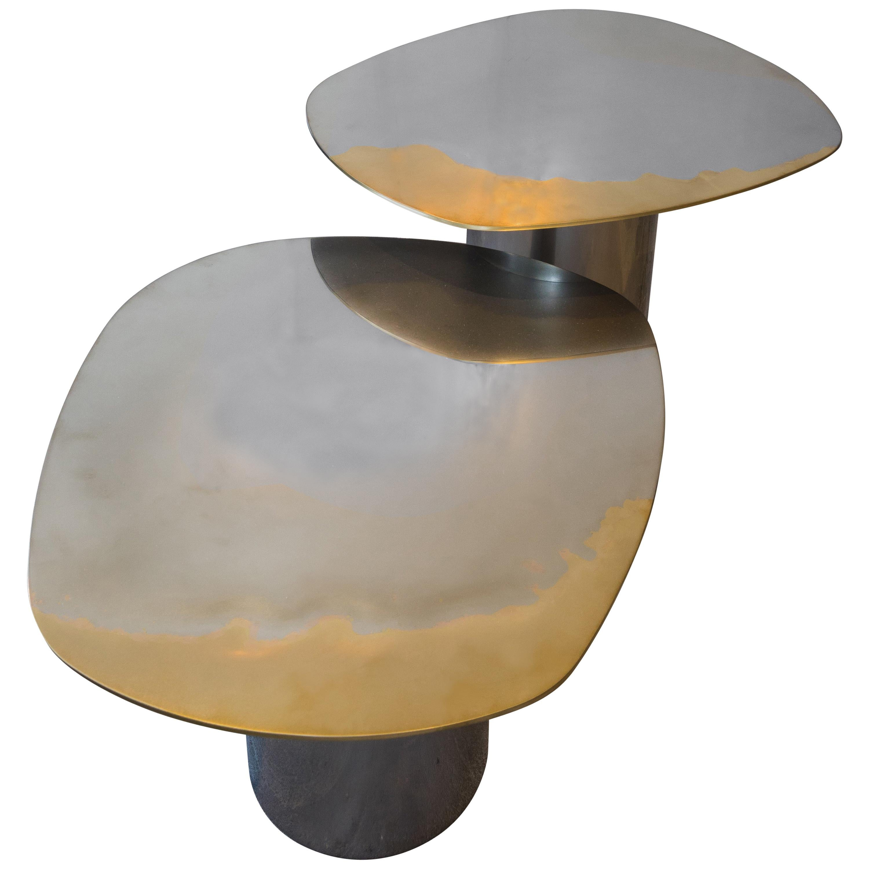 Polished Bimetal  Brass Stainless-Steel Transition Nesting Table by Corinna Warm