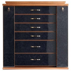 Polished Black Jewel Box in Maple and Mahogany by Agresti