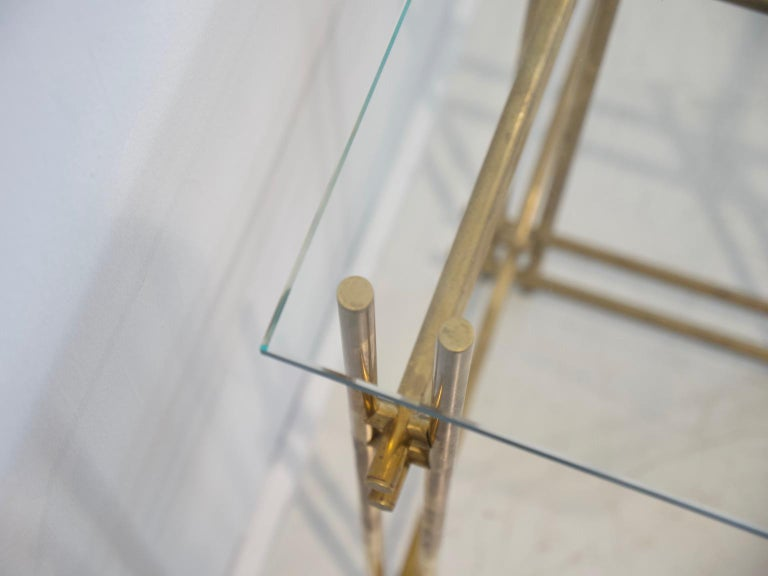 Polished Brass and Crystal Console Table with a Wall Mirror For Sale 7