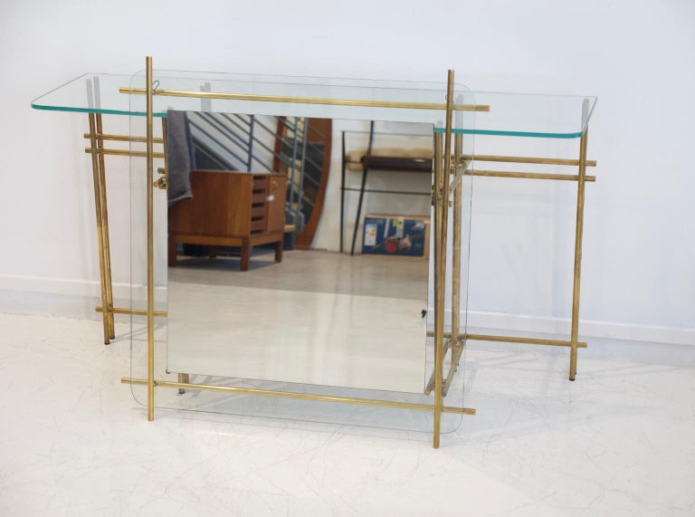 Polished Brass and Crystal Console Table with a Wall Mirror For Sale 8