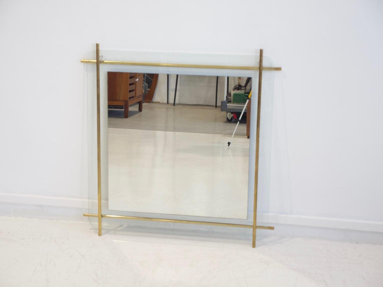 Polished Brass and Crystal Console Table with a Wall Mirror For Sale 9