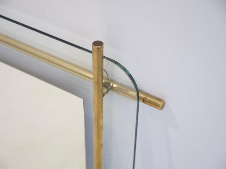 Polished Brass and Crystal Console Table with a Wall Mirror For Sale 10