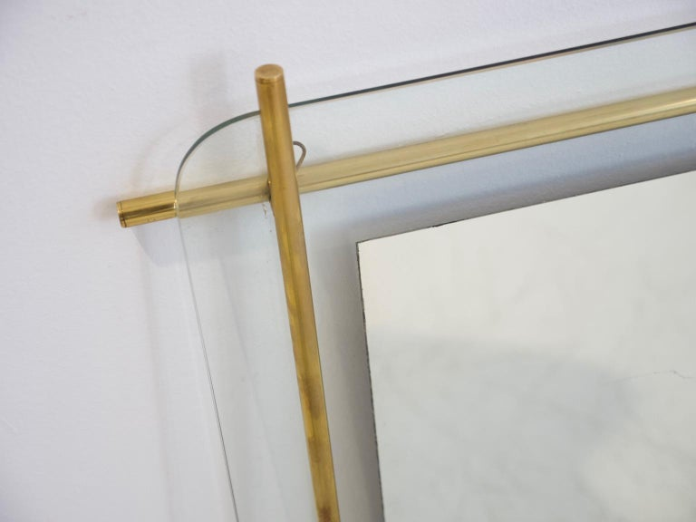 Polished Brass and Crystal Console Table with a Wall Mirror For Sale 11