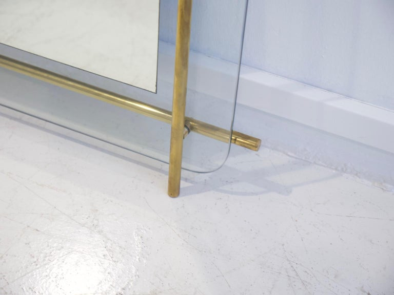 Polished Brass and Crystal Console Table with a Wall Mirror For Sale 13