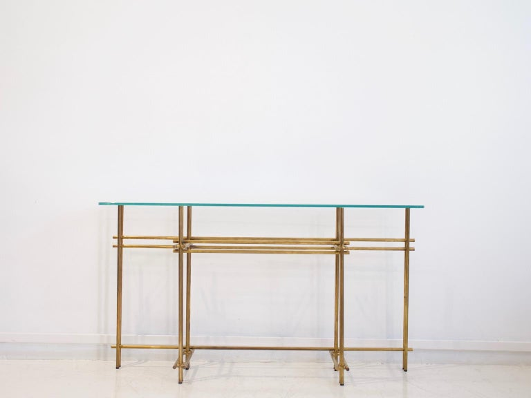 Mid-Century Modern Polished Brass and Crystal Console Table with a Wall Mirror For Sale