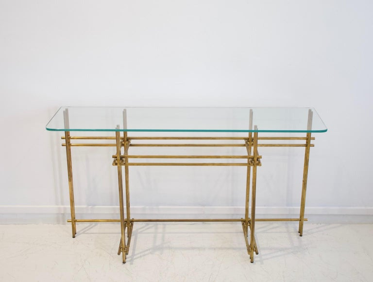 Italian Polished Brass and Crystal Console Table with a Wall Mirror For Sale