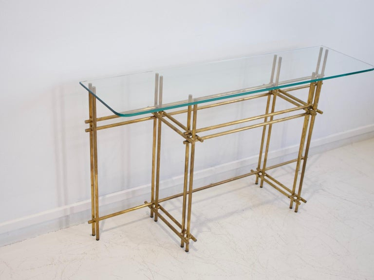 Polished Brass and Crystal Console Table with a Wall Mirror In Good Condition For Sale In Madrid, ES