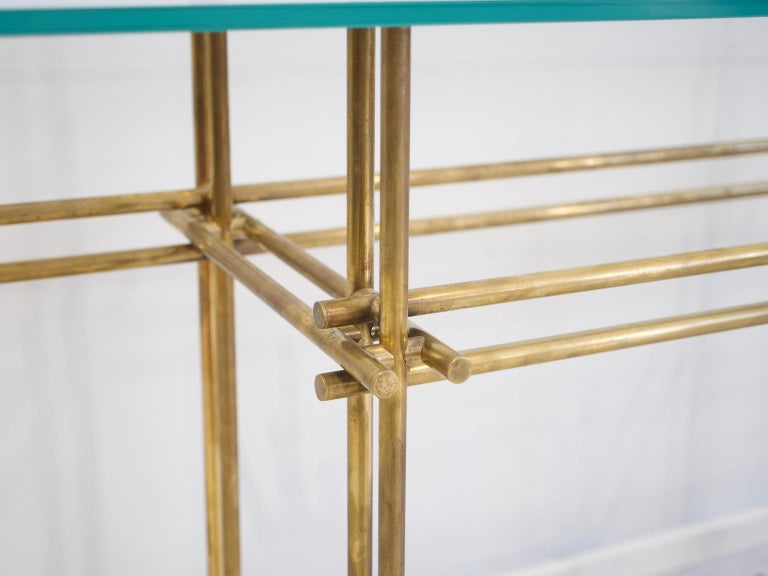 20th Century Polished Brass and Crystal Console Table with a Wall Mirror For Sale