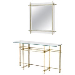 Polished Brass and Crystal Console Table with a Wall Mirror