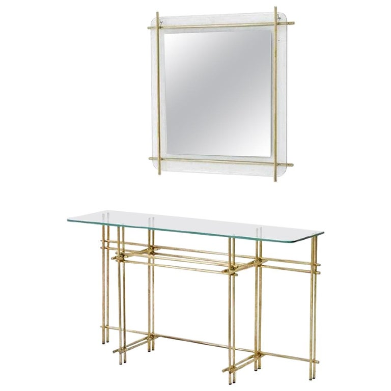 Polished Brass and Crystal Console Table with a Wall Mirror For Sale