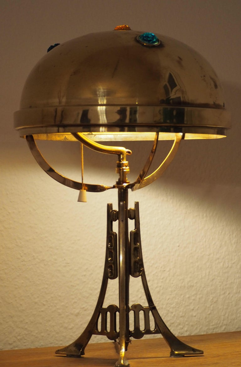 A wonderful Art Nouveau brass and glass jewel table lamp, circa 1900. Socket: One x e 27 Newly wired.