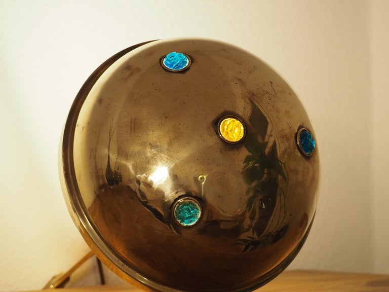 German Polished Brass and Glass Jewel Art Nouveau Table Lamp, circa 1900 For Sale