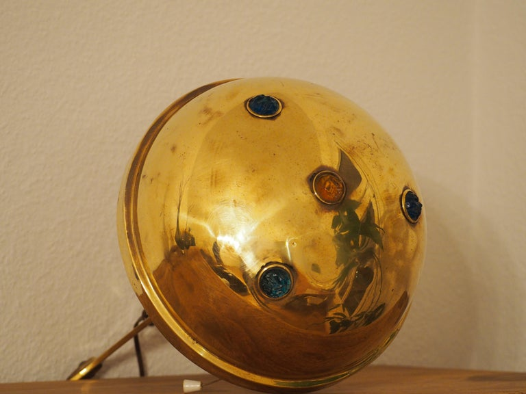 Early 20th Century Polished Brass and Glass Jewel Art Nouveau Table Lamp, circa 1900 For Sale