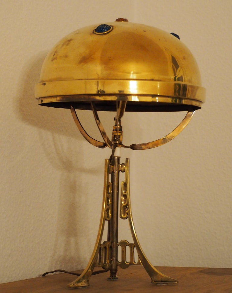 Polished Brass and Glass Jewel Art Nouveau Table Lamp, circa 1900 For Sale 1