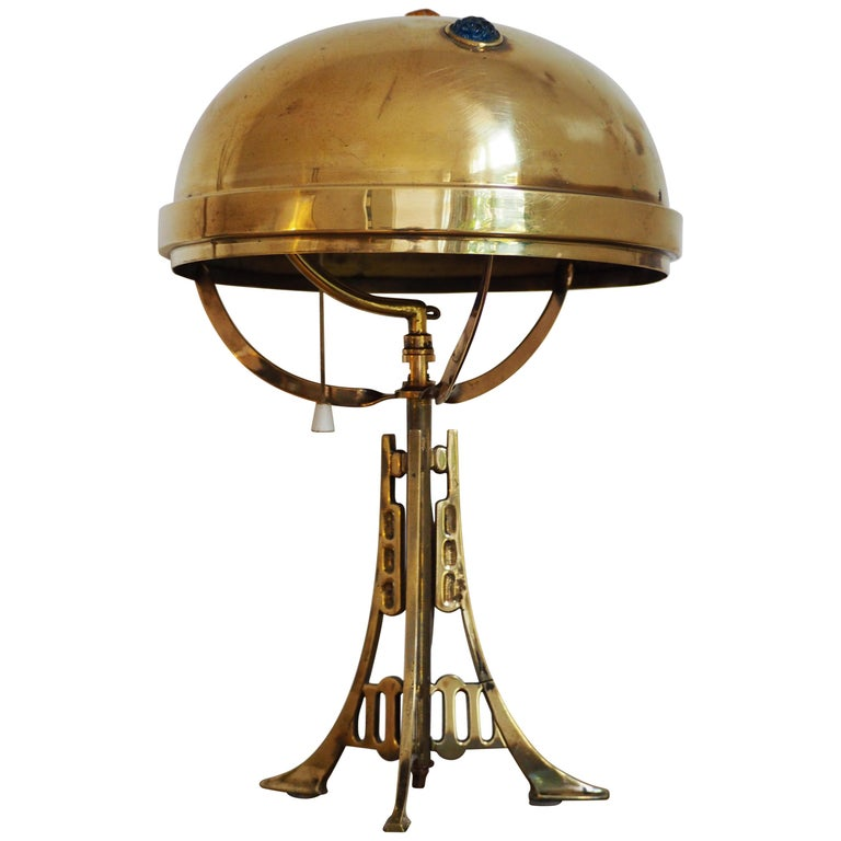 Polished Brass and Glass Jewel Art Nouveau Table Lamp, circa 1900 For Sale