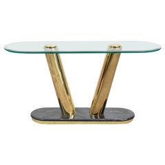 Polished Brass and Marble Console Table in the Manner of Pace