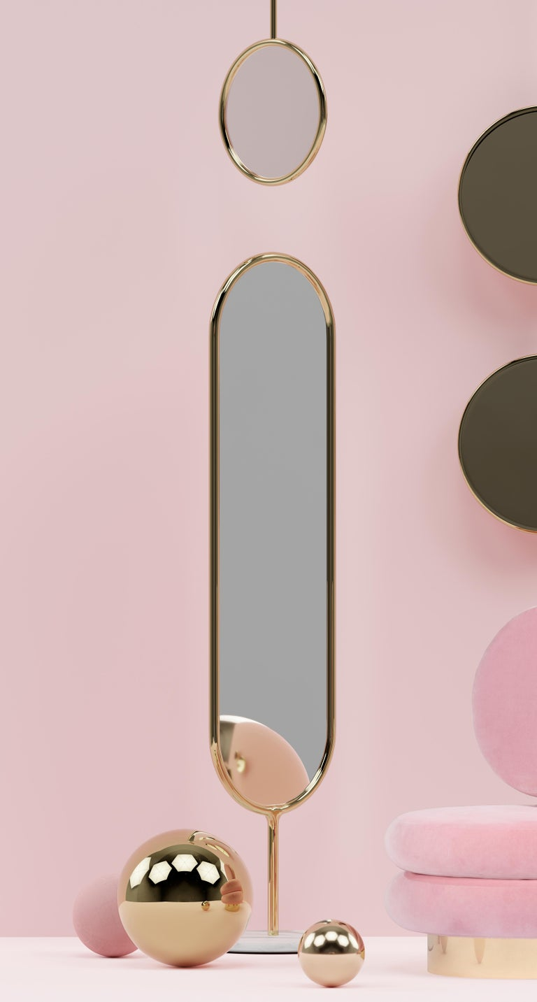 Polished brass and marble floor mirror - Royal Stranger
