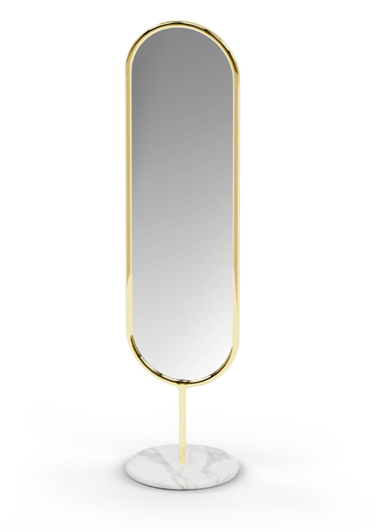 Modern Polished Brass and Marble Floor Mirror, Royal Stranger For Sale