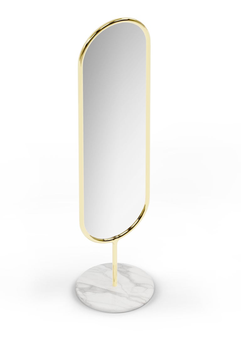 Portuguese Polished Brass and Marble Floor Mirror, Royal Stranger For Sale