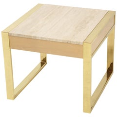 Polished Brass and Travertine Side Table