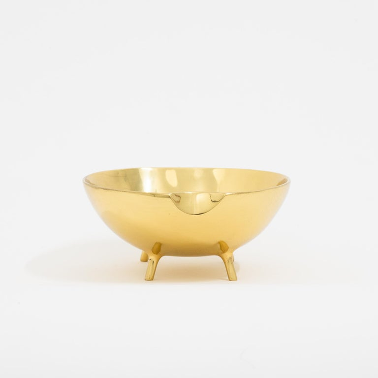 Cast Polished Brass Bowl with Legs For Sale