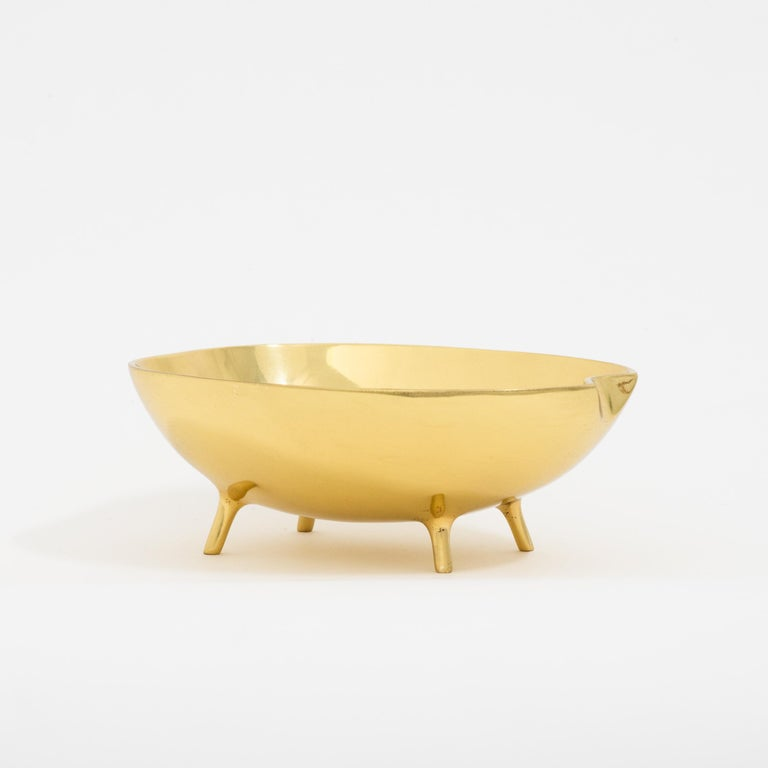 Organic Modern Polished Brass Bowl with Legs For Sale