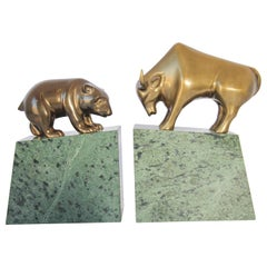Polished Brass Bull and Bear Bookends Paperweights