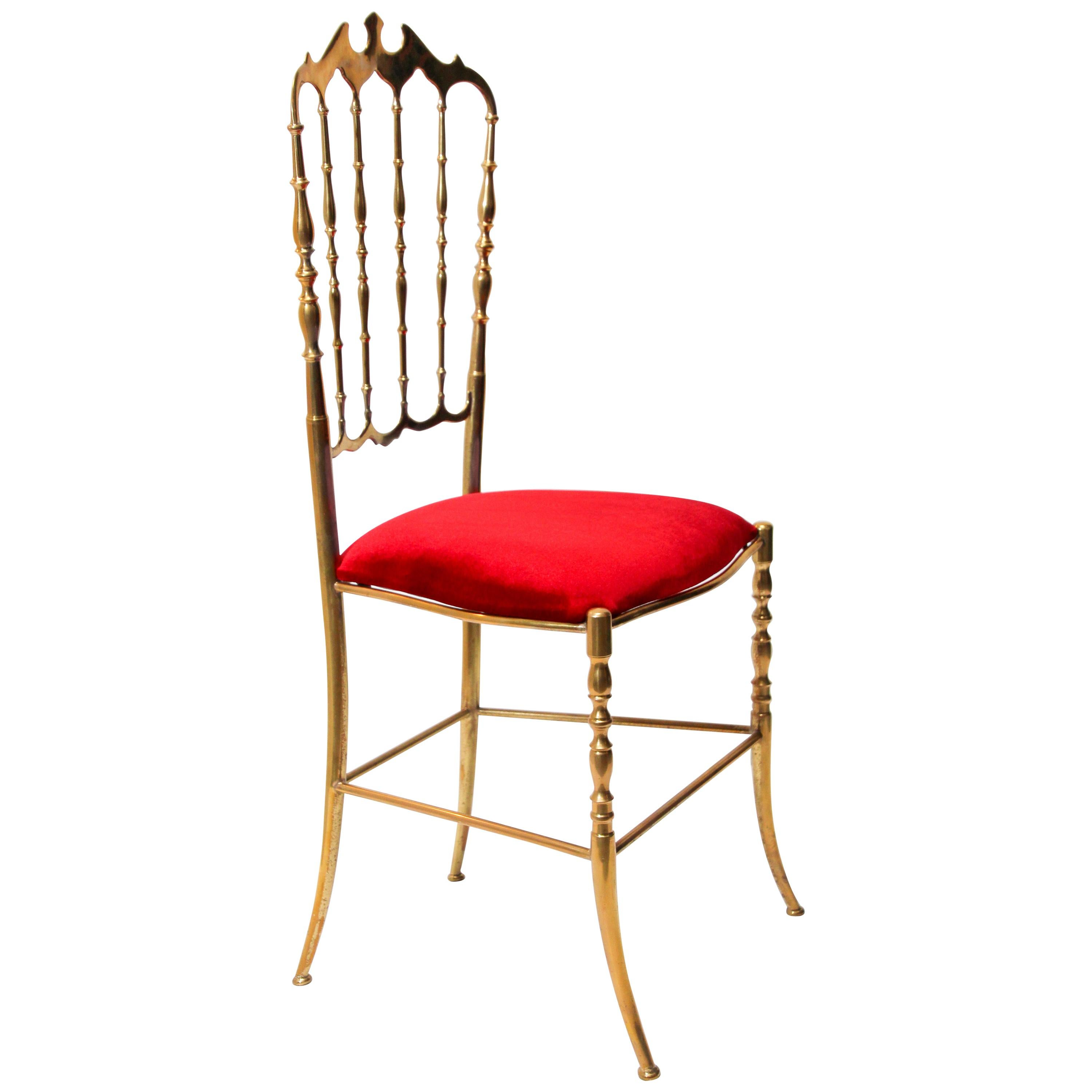Polished Brass Chiavari Chair with Red Velvet, Italy, 1960s