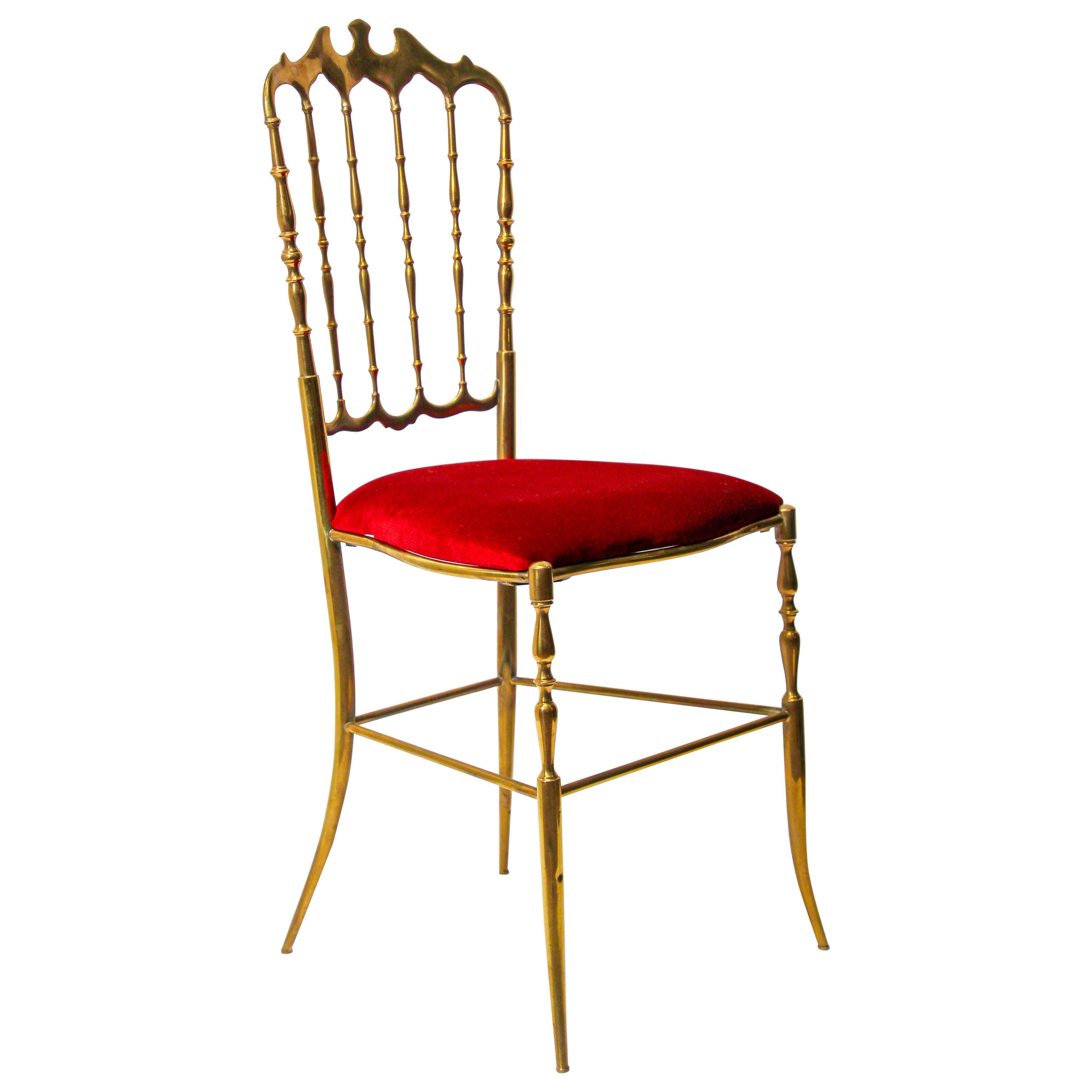 Polished Brass Chiavari Chairs with Red Velvet, Italy, 1960s