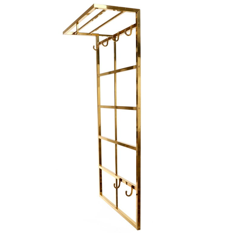 Mid-Century Modern Polished Brass Coatrack Wardrobe, 1960s For Sale