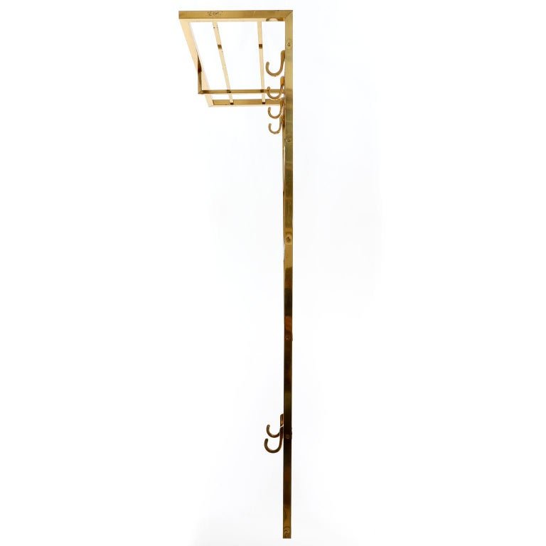 Austrian Polished Brass Coatrack Wardrobe, 1960s For Sale
