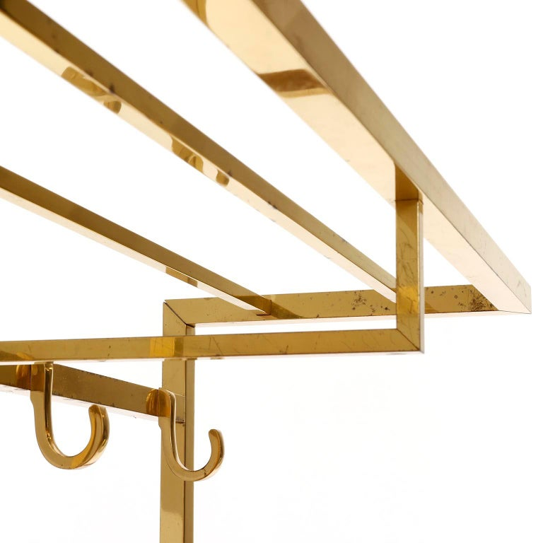 Polished Brass Coatrack Wardrobe, 1960s In Good Condition For Sale In Vienna, AT