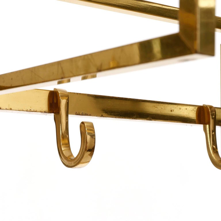 Mid-20th Century Polished Brass Coatrack Wardrobe, 1960s For Sale