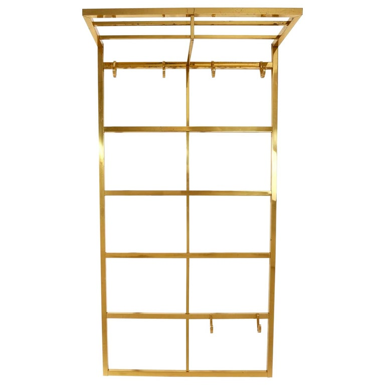 Polished Brass Coatrack Wardrobe, 1960s For Sale
