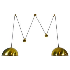 Polished Brass Counter Balance Pendants by Florian Schulz, 1970s, Germany