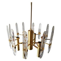 Polished Brass & Crystal 6 Armed Chandelier by Gaetano Sciolari, 1960s, Italy