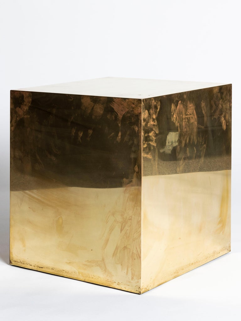 Polished Brass Cube Side Table In Good Condition For Sale In Chicago, IL