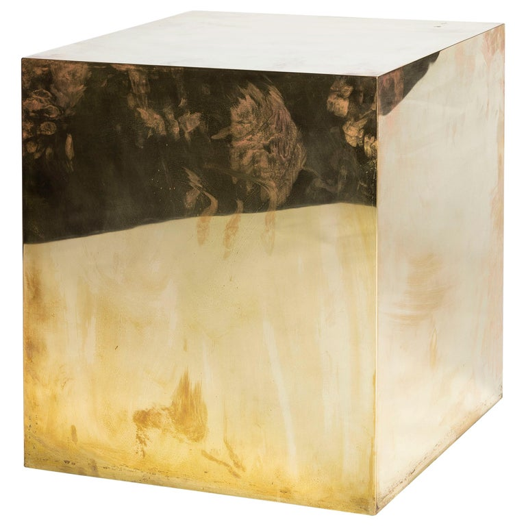 Polished Brass Cube Side Table For Sale