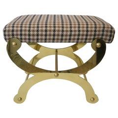 Polished Brass Curule Bench by Maison Jansen