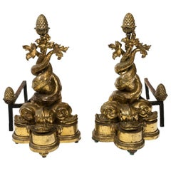 Polished Brass Dolphin Andirons